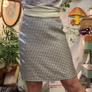 Ann Taylor silk black white geometric print skirt